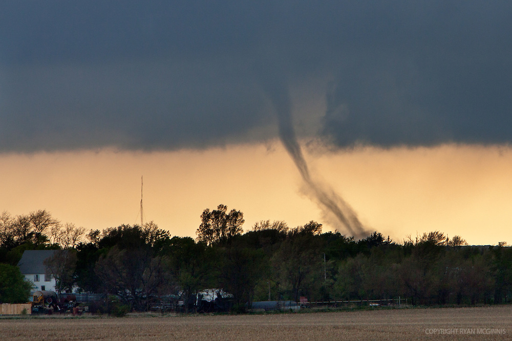 A tornado touches down near Oxford, Nebraska, April 14, 2012.