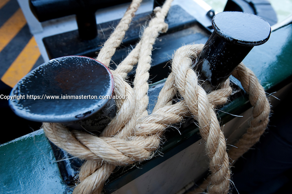 Detail of rope mooring on Vaporetto waterbus on the Grand Canal in Venice Italy