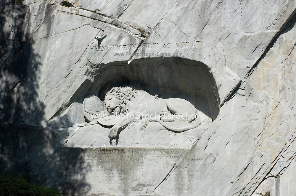 Switzerland, Lucerne (Luzern), dying lion (the Lion Monument, or Lowendenkmal) by Bertel Thorvaldsen a monument to Swiss mercenaries who died in battle at the Tuileries in 1792.