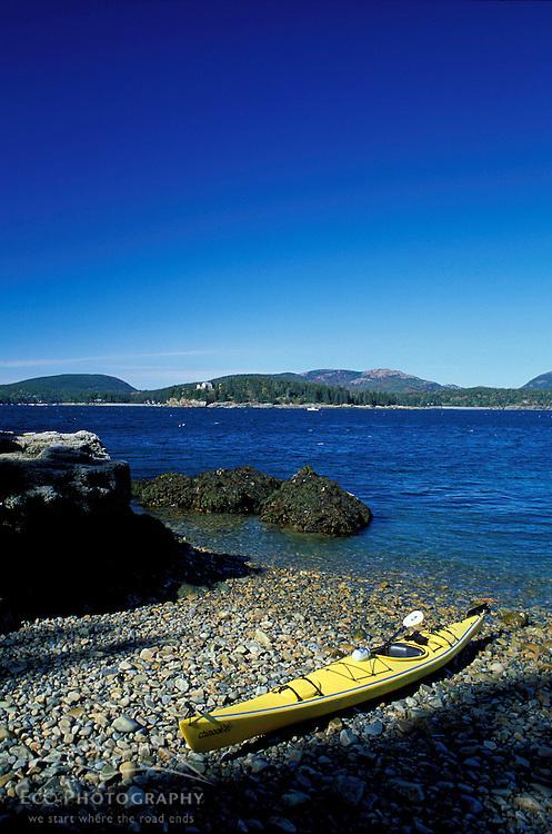 Acadia N.P., ME. Sea Kayaking around Mt. Desert Island. Sutton Island.  Atlantic Ocean.
