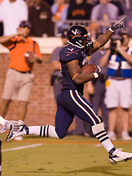 Virginia running back Cedric Peerman (37) scores a rushing touchdown against Pitt.  The Virginia Cavaliers defeated the Pittsburgh Panthers 44-14 at Scott Stadium in Charlottesville, VA on September 29, 2007.