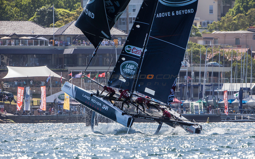 The Extreme Sailing Series 2016. Land Rover BAR Academy: Neil Hunter, Chris Taylor, Will Alloway, Sam Batten/Adam Kay/Oli Greber, Rob Bunce, Neil Hunter .Act 8.Sydney,Australia. 8th-11th December 2016. Credit - Jesus Renedo/Lloyd Images