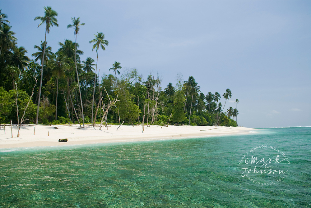 Beautiful beach on a tropical island in the Mentawai Islands, Indonesia
