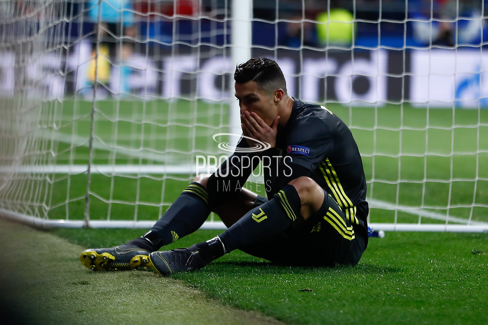 Cristiano Ronaldo of Juventus dejected during the UEFA Champions League, round of 16, 1st leg football match between Atletico de Madrid and Juventus on February 20, 2019 at Wanda metropolitano stadium in Madrid, Spain - Photo Oscar J Barroso / Spain ProSportsImages / DPPI / ProSportsImages / DPPI