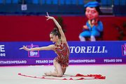 Meleshchuk Yeva during the qualification of the ribbon at the Pesaro World Cup 2018.<br /> She is a Ukrainian gymnast born in Kyiv in 2001.