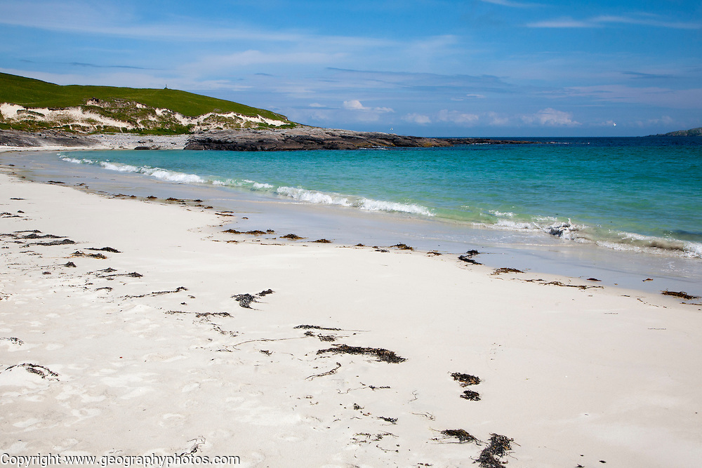 Sandy beach at Bagh a Deas, South Bay, Vatersay island, Barra, Outer Hebrides, Scotland, UK