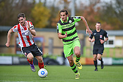 Lincoln City Defender, Luke Waterfall (5) and Forest Green Rovers Midfielder, Darren Carter (12) during the Vanarama National League match between Forest Green Rovers and Lincoln City at the New Lawn, Forest Green, United Kingdom on 19 November 2016. Photo by Adam Rivers.