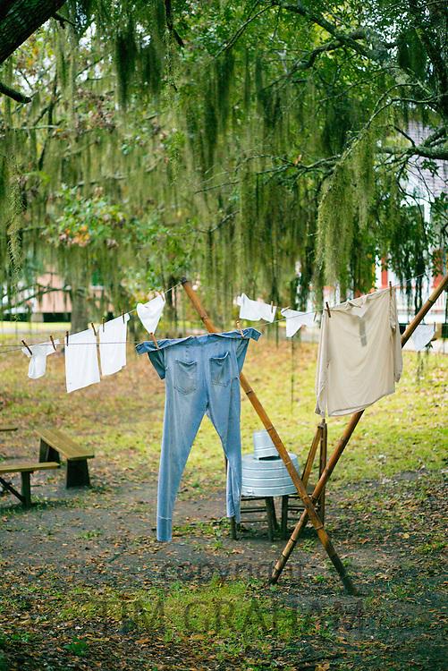 Laundry drying on washing line in Mississippi Delta, Louisiana, USA