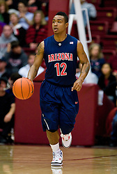 February 27, 2010; Stanford, CA, USA;  Arizona Wildcats guard Lamont Jones (12) during the first half against the Stanford Cardinal  at Maples Pavilion. Arizona defeated Stanford 71-69.