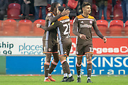 Goal Brentford forward Said Benrahma  celebreates with Brentford midfielder Romaine Sawyers as he scores a goal to make it 2-1 during the EFL Sky Bet Championship match between Rotherham United and Brentford at the AESSEAL New York Stadium, Rotherham, England on 19 January 2019.