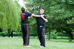 Pro Defence Krav Maga IKMF Instructor Neil Walton goes through various Krav Maga technique's and moves in Kelvingrove Park, in Glasgow.