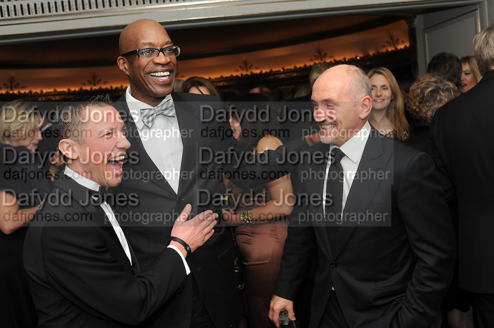 Horse racing jockey Frankie Dettori, track and field athlete Ed Moses and boxer Barry McGuigan , The Cartier Racing Awards. The Ballroom, Dorchester hotel. Park Lane. London. 15 November 2011. <br /> <br />  , -DO NOT ARCHIVE-© Copyright Photograph by Dafydd Jones. 248 Clapham Rd. London SW9 0PZ. Tel 0207 820 0771. www.dafjones.com.