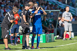 09.08.2015, Stadion Lohmühle, Luebeck, GER, DFB Pokal, VfB Luebeck vs SC Paderborn 07, 1. Runde, im Bild Marvin Bakalorz (Nr. 6, SC Paderborn) bei Paderborns Trainer Markus Gellhaus // during German DFB Pokal first round match between VfB Luebeck vs SC Paderborn 07 at the Stadion Lohmühle in Luebeck, Germany on 2015/08/09. EXPA Pictures © 2015, PhotoCredit: EXPA/ Eibner-Pressefoto/ KOENIG<br /> <br /> *****ATTENTION - OUT of GER*****