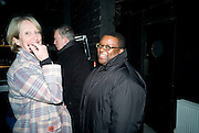 VIRGINIA IBBOTT; ISAAC JULIEN,  Prada Congo Art Party hosted by Miuccia Pada and Larry Gagosian. The Double Club,  Torrens St. London EC1. The Double Club is A Carsten Holler project by Fondazione Prada. 10 February 2009. *** Local Caption *** -DO NOT ARCHIVE-© Copyright Photograph by Dafydd Jones. 248 Clapham Rd. London SW9 0PZ. Tel 0207 820 0771. www.dafjones.com.<br /> VIRGINIA IBBOTT; ISAAC JULIEN,  Prada Congo Art Party hosted by Miuccia Pada and Larry Gagosian. The Double Club,  Torrens St. London EC1. The Double Club is A Carsten Holler project by Fondazione Prada. 10 February 2009.