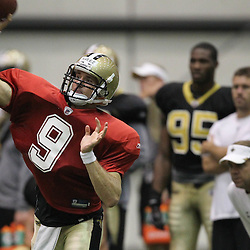 August 5, 2011; Metairie, LA, USA; New Orleans Saints quarterback Drew Brees (9) during training camp practice at the New Orleans Saints practice facility. Mandatory Credit: Derick E. Hingle