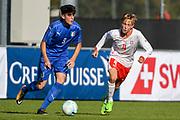 21.09.2017; Niederhasli; FUSSBALL U16 - Schweiz - Italien;<br /> Antonio Reda (ITA) Noah Henchoz (SUI) <br /> (Andy Mueller/freshfocus)