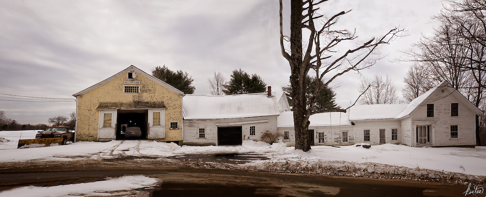 Panorama of an Old Farmstead in Maine in the winter time.