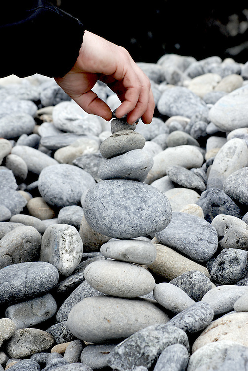 A free-form stack of rocks becomes an unexpected cairn on the beaches of Big Sur