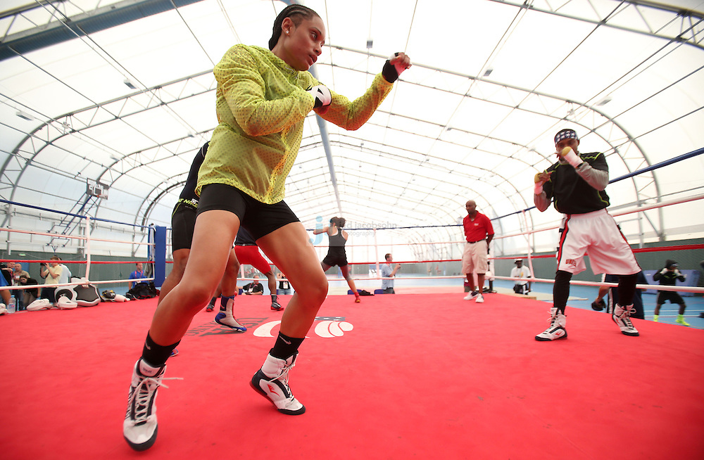 Queen Underwood of the USA Olympic boxing team trains during a workout session at the SCORE Training Facility on July 26, 2012 in London, England. (Jed Jacobsohn/for The New York Times)....