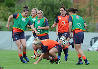 Rugby Union - pre-Women's Rugby World Cup - England Women Media Day<br /> <br /> l-r Leanne Reilly, Izzy Noel Smith Sarah Hunter, Katie McLean (right) and Rachel Burford with ball, at Lensbury Hotel.<br /> <br /> COLORSPORT/ANDREW COWIE
