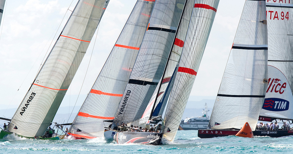 Rounding the top mark in Race 1 of Act 13. All 11 Challengers, plus the Defender Alinghi will race together for the last time in this final Act, before the start of the Louis Vuitton Challenger Series on 16th April 07 when the knock out stages begin