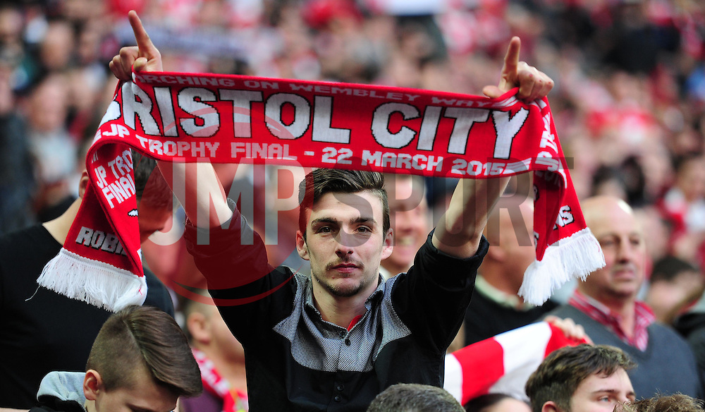 Bristol City fan celebrates at full time. - Photo mandatory by-line: Alex James/JMP - Mobile: 07966 386802 - 22/03/2015 - SPORT - Football - London - Wembley Stadium - Bristol City v Walsall - Johnstone Paint Trophy Final