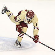 Johnny Gaudreau #13 of the Boston College Eagles on the ice during The Beanpot Championship Game at TD Garden on February 10, 2014 in Boston, Massachusetts. (Photo by Elan Kawesch)