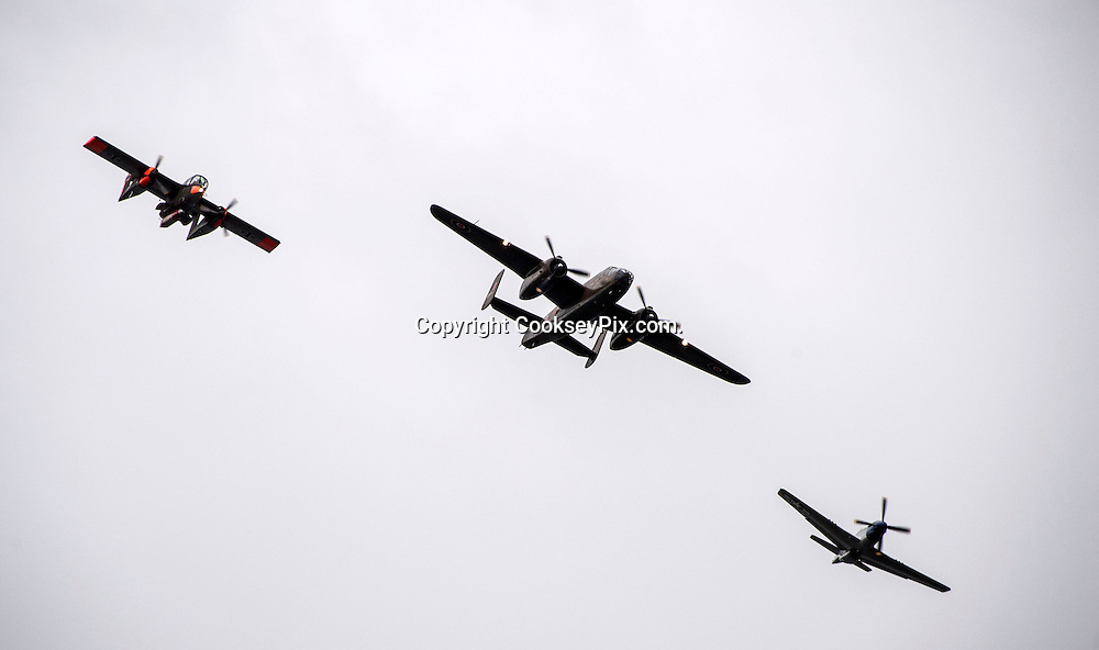 Picture by Christian Cooksey/CookseyPix.com on behalf of South Ayrshire Council.<br /> <br /> The Scottish Airshow, Low Green, Ayr, South Ayrshire.<br /> <br /> the American flight. LtoR. The Bronco, The B25 and the P51 Mustang<br /> <br /> <br /> All rights reserved. For full terms and conditions see www.cookseypix.com