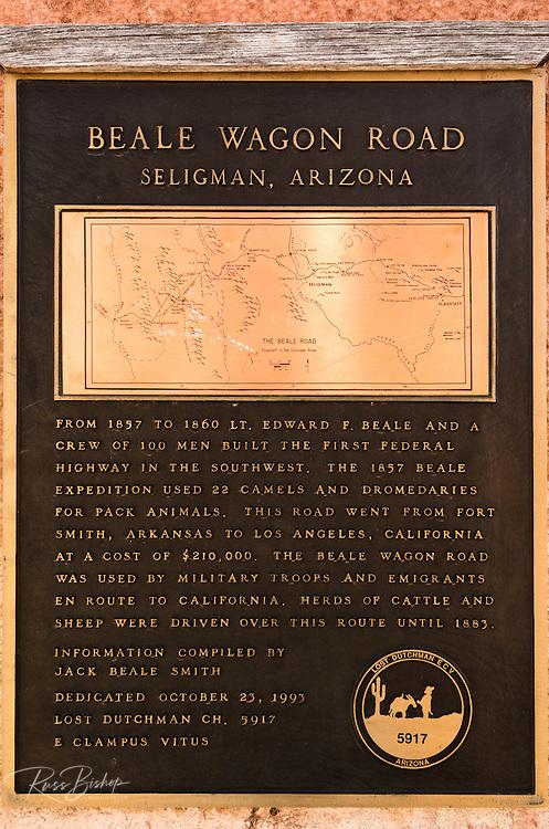 Historic Beale Wagon Road interpretive plaque, Route 66, Seligman, Arizona USA