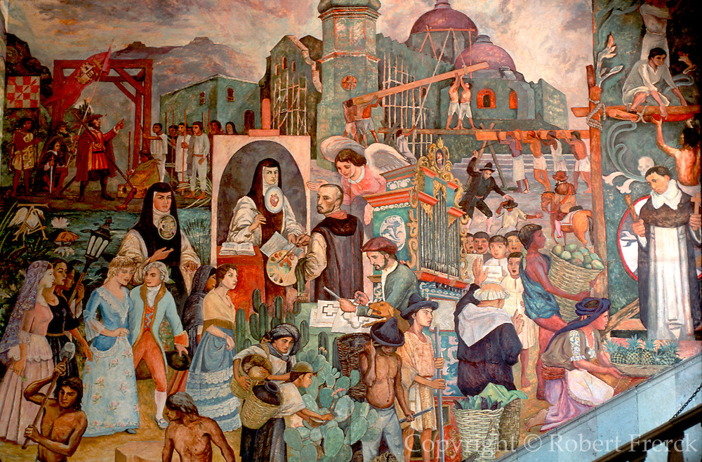 MEXICO, SOUTH, OAXACA STATE Oaxaca, Governors Palace with mural of Oaxacan history shows Spanish build Cathedral and Juana Ines de la Cruz