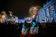 Torino 2006, fuochi artificiali in Piazza Castello (Medal Plaza) al termine delle cerimonie serali di premiazione dei XX Giochi olimpici invernali