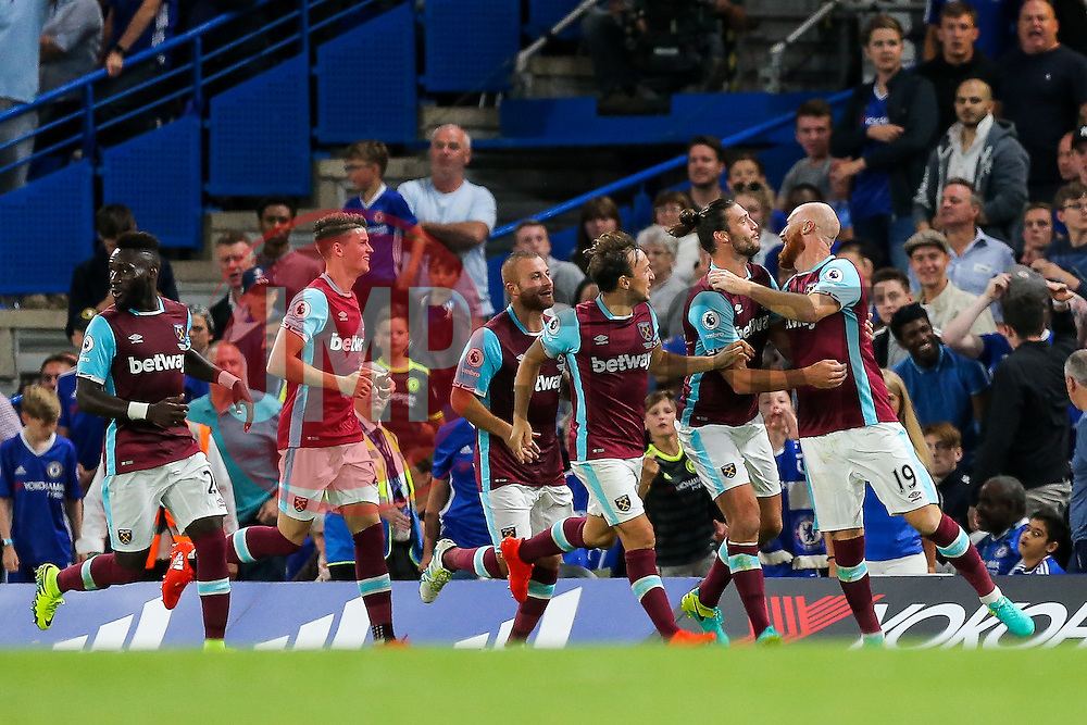 James Collins of West Ham United celebrates after he scores a goal to make it 1-1 - Rogan Thomson/JMP - 15/08/2016 - FOOTBALL - Stamford Bridge Stadium - London, England - Chelsea v West Ham United - Premier League Opening Weekend.