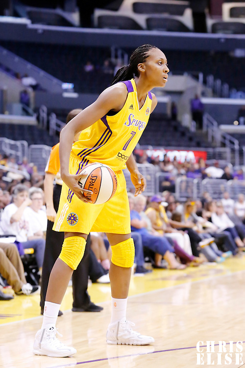 17 June 2014: Los Angeles Sparks forward/center Sandrine Gruda (7) looks to pass the ball during the Minnesota Lynx  94-77 victory over the Los Angeles Sparks, at the Staples Center, Los Angeles, California, USA.