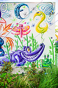 Mural by pop-artist Kenny Scharf in the Wynwood Garden during Miami Art Week 2014