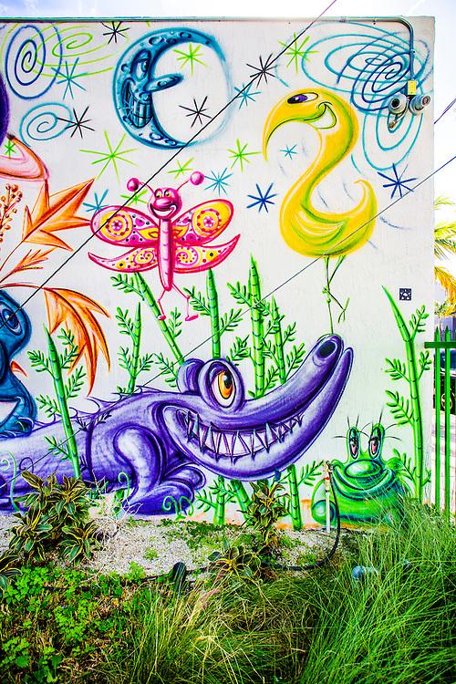 Mural by pop-artist Kenny Scharf in the Wynwood Garden during Miami Art Week 2014