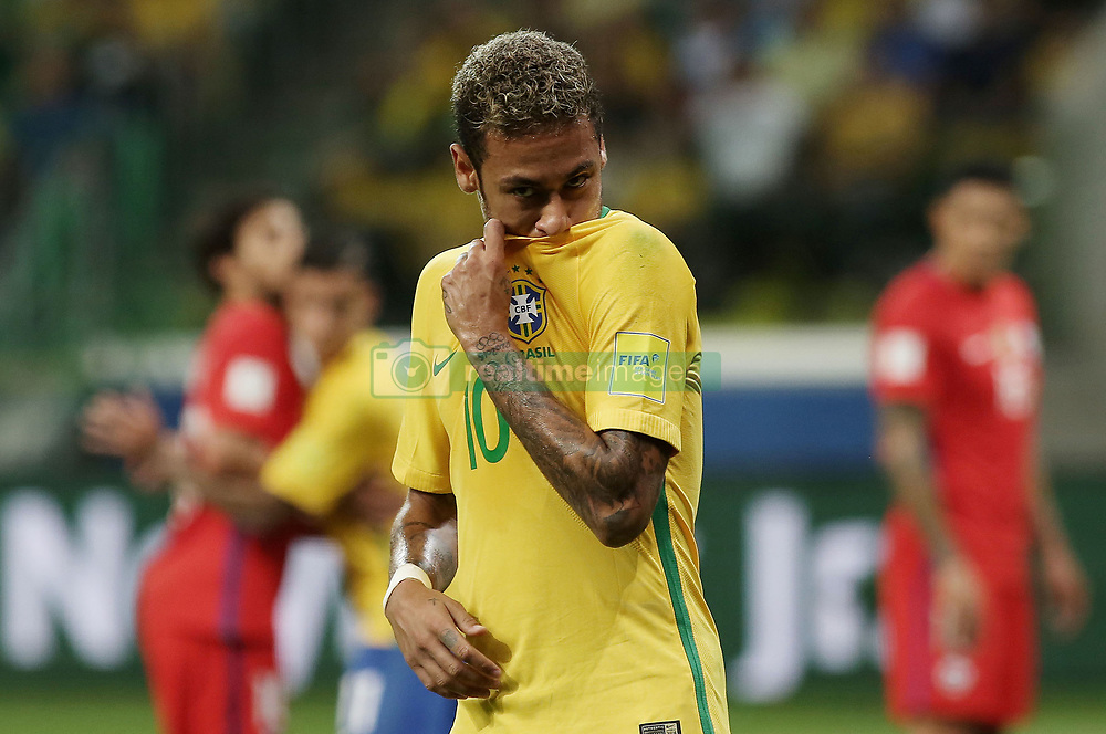 SAO PAULO, Oct. 11, 2017  Brazil's Neymar reacts during the Russia 2018 FIFA World Cup qualifier match against Chile, at Allianz Parque stadium, in Sao Paulo, Brazil, on Oct. 10, 2017. Brazil won the match 3-0.  ma) (da) (Credit Image: © [E]Rahel Patrasso/Xinhua via ZUMA Wire)