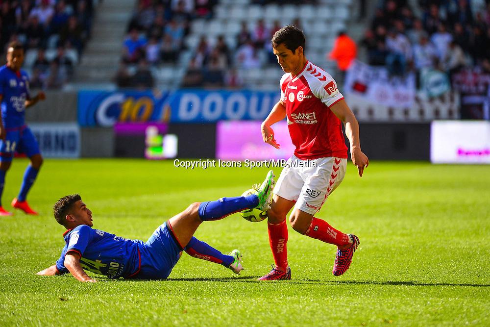 Mohamed Said BENRAHMA / Aissa MANDI - 12.04.2015 - Reims / Nice - 32eme journee de Ligue 1 <br />Photo : Dave Winter / Icon Sport