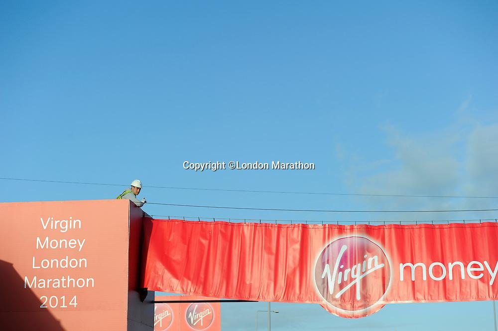 Preparations at the start<br /> The Virgin Money London Marathon 2014<br /> 13 April 2014<br /> Photo: Javier Garcia/Virgin Money London Marathon<br /> media@london-marathon.co.uk