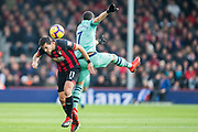 Charlie Daniels (Bournemouth) & Henrikh Mkhitaryan (Arsenal) during the Premier League match between Bournemouth and Arsenal at the Vitality Stadium, Bournemouth, England on 25 November 2018.