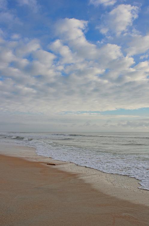 Peaceful beach blue sky and clouds, Palm Coast, Florida, USA