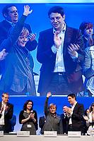 16 OCT 2010, POTSDAM/GERMANY:<br /> Johannes Poettering, JU Stellv. Bundesvorsitzender, Dorothee Baer, JU Stellv. Bundesvorsitzende, Angela Merkel, CDU, Bundeskanzlerin, Philipp Missfelder, MdB, CDU, Bundesvorsitzender Junge Union, (v.L.n.R.), nach der Rede von Merkel, Deutschlandtag der Jungen Union, Metropolis Halle, Filmpark Babelsberg<br /> IMAGE: 20101016-01-078<br /> KEYWORDS: Parteitag, party congress, Bundesparteitag, Philipp Mißfelder, Applaus, klatschen, applaudieren, Dorothee Bär, Johannes Pöttering