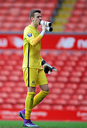LIVERPOOL, ENGLAND - Sunday, February 7, 2016: Manchester City's goalkeeper Angus Gunn takes a drink from two bottles during the Under-21 FA Premier League match against Liverpool at Anfield. (Pic by David Rawcliffe/Propaganda)