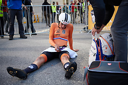 Lucinda Brand (NED) recovers after UCI Road World Championships 2018 - Elite Women's ITT, a 27.7 km individual time trial in Innsbruck, Austria on September 25, 2018. Photo by Sean Robinson/velofocus.com