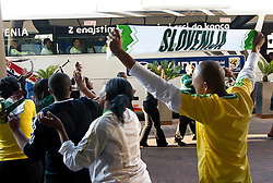 Hotel workers dance at departure of Slovenia National team from Southern Sun Hyde Park Hotel to airport for flight home after the last 2010 FIFA World Cup South Africa Group C  match between Slovenia and England on June 25, 2010 at Southern Sun Hyde Park Hotel, Johannesburg, South Africa. (Photo by Vid Ponikvar / Sportida)
