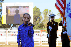 "Logan Thorstenson, known as the ""Boy Soprano,"" sings the national anthem on Friday night at the 102nd California Rodeo Salinas, which opened July 19 for a four-day run."