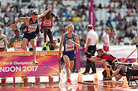 Athletics - 2017 IAAF London World Athletics Championships - Day Three, Morning Session<br /> <br /> 3000m Steeplechase Men - Round 1 (Heat 2)<br />  <br /> Evan Jager (United States) leads over the water jump at the London Stadium<br /> <br /> COLORSPORT/DANIEL BEARHAM