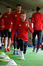 CARDIFF, WALES - Tuesday, November 13, 2018: Wales' Chris Gunter during a training session at the Vale Resort ahead of the UEFA Nations League Group Stage League B Group 4 match between Wales and Denmark. (Pic by David Rawcliffe/Propaganda)