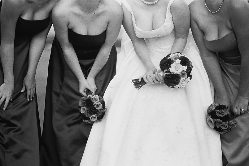fine art film wedding photography of bridesmaids.