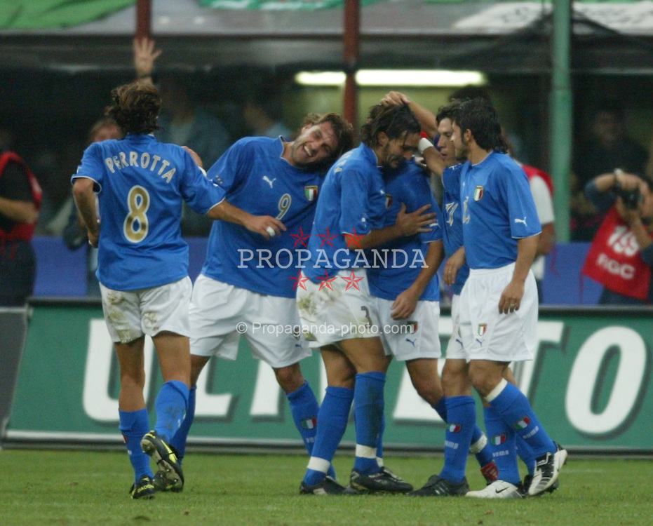 MILAN, ITALY - Saturday, September 6, 2003: Wales players stand dejected as Italy celebrate their forth goal during the Euro 2004 qualifying match at the San Siro Stadium. (Pic by David Rawcliffe/Propaganda)