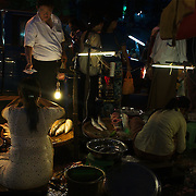 Night market at one of Yangon's main avenues